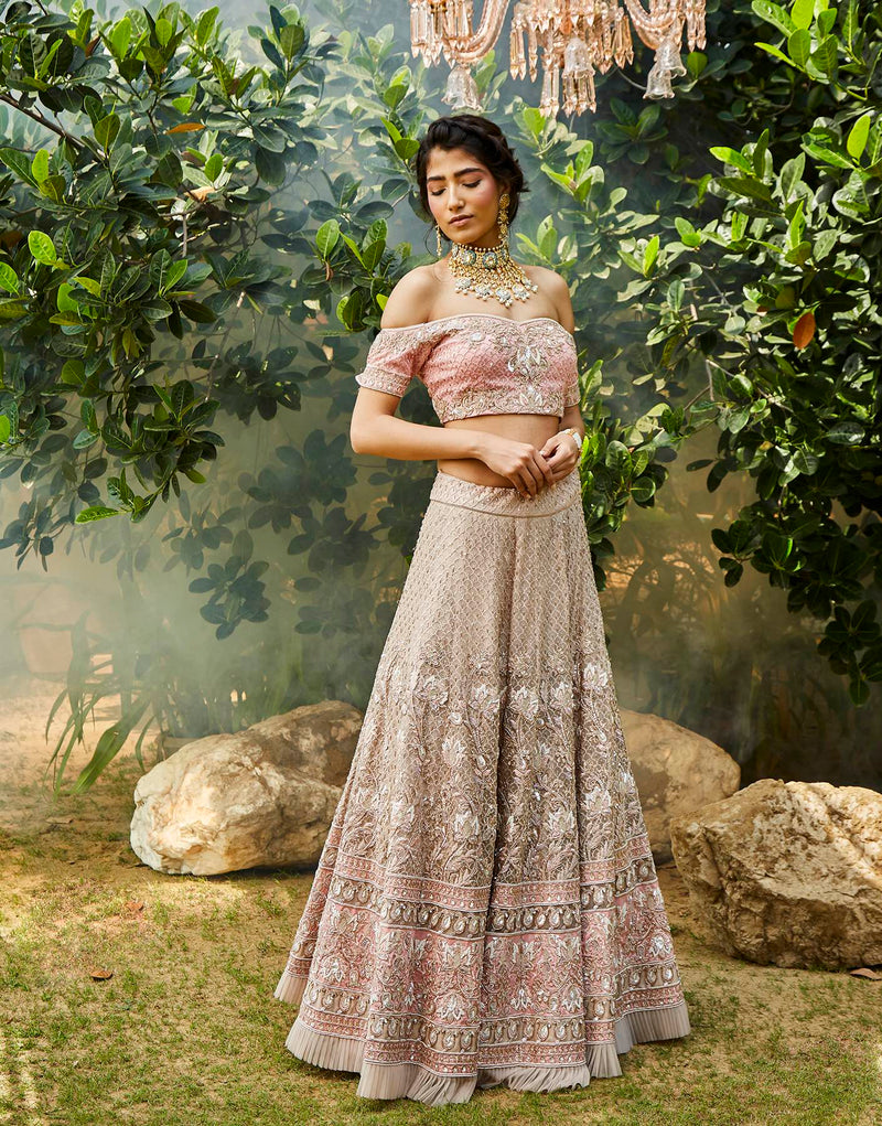 Hand Embroidered Off Shoulder Blouse & Lehenga Set - Akilah