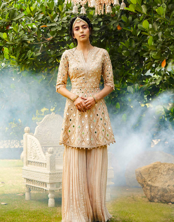 Champagne Peplum Kurta With Sharara Set - Akilah