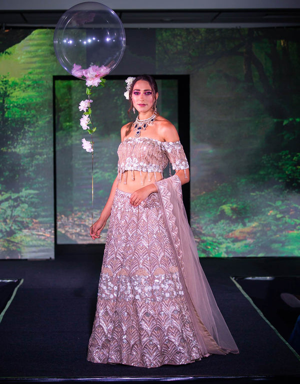 Champagne Organza Lehenga with 3D Embroidery - Akilah