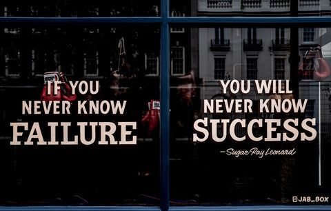 motivational quote on window front