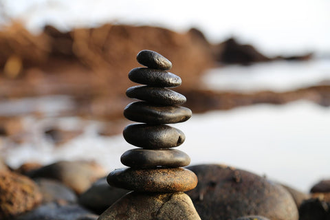 A stack of smooth stones in quiet setting