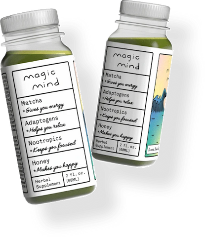 Two bottles of Magic Mind containing several beneficial nootropics.