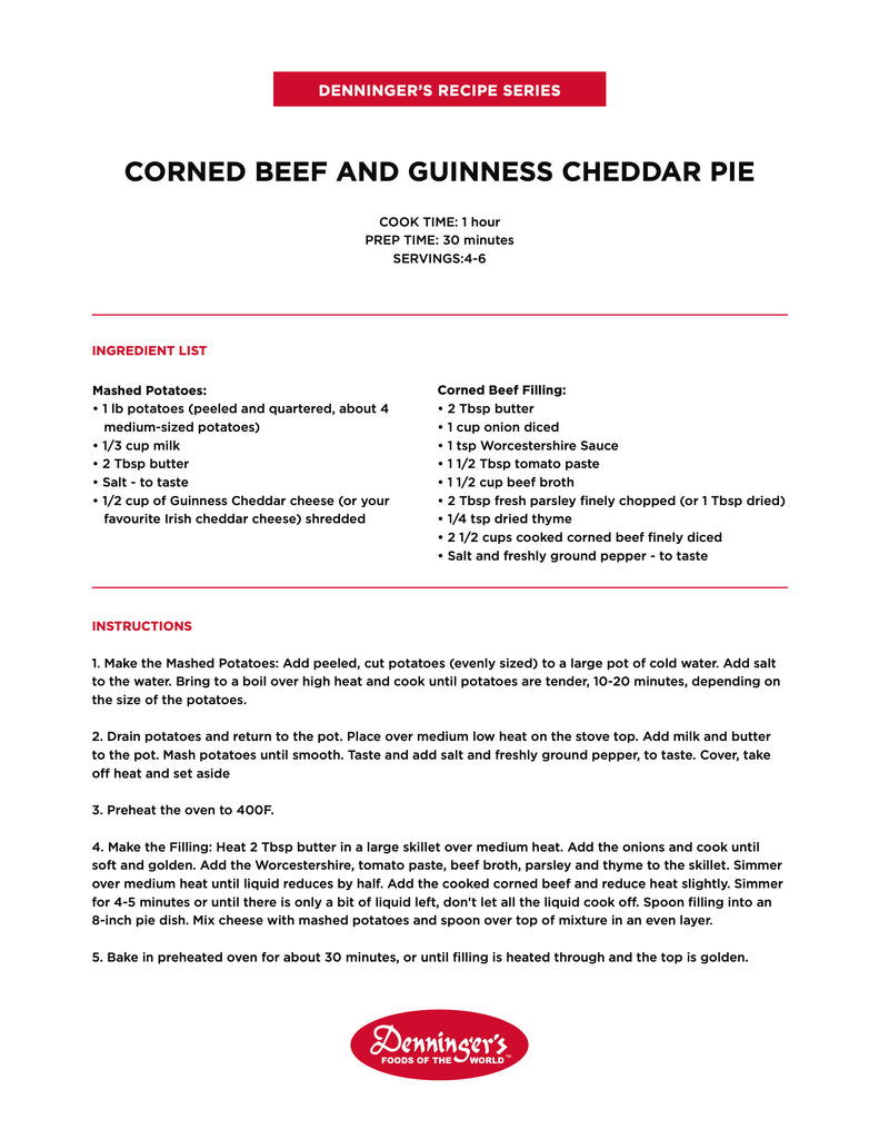 Corned Beef and Guiness Cheddar Pie Recipe Denningers