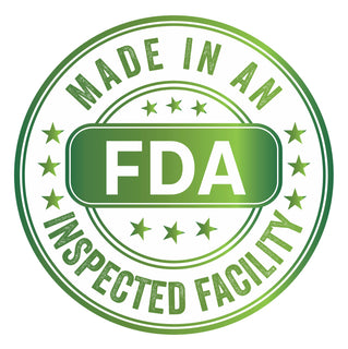 made in an FDA Inspected Facility. FDA Approved. FDA Regulated. FDA. food and drug administration. food & drug administration. American. America. USA.