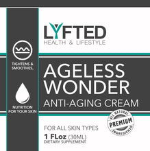 Load image into Gallery viewer, skin care product for athletes; lyfted health lifestyle company ageless wonder anti-aging cream
