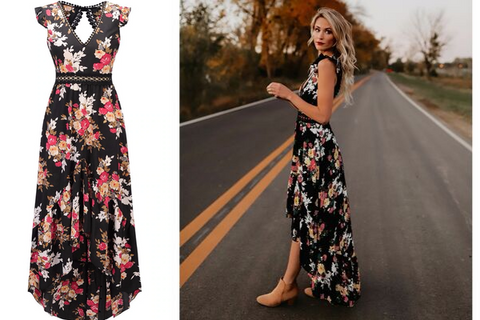 black flower boho dress maxi