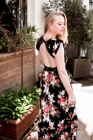 black floral dress backless