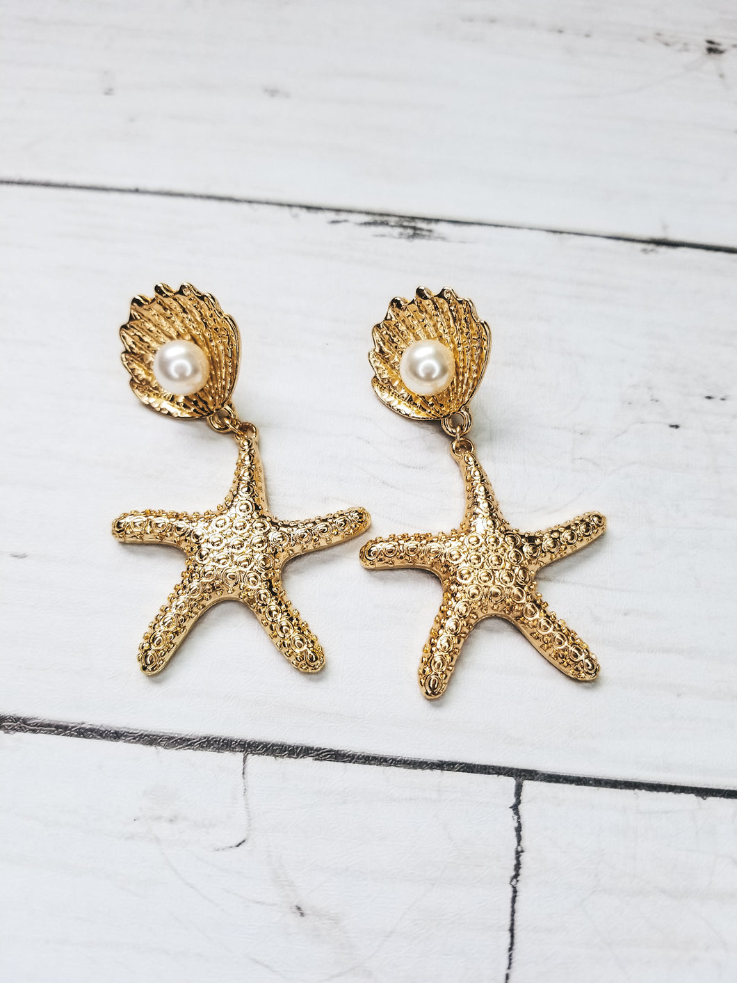 Linda Starfish and Pearl Drop Earrings - West Canada Co