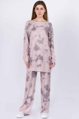 HomeBound Tie Dye Sweatshirt Tunic Dress Set