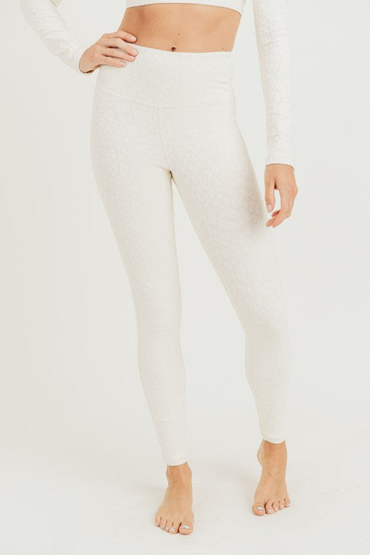 White Leopard Print Athletic Leggings