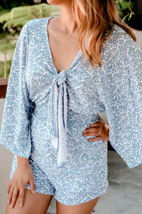 Athens Bell Sleeve Blue Romper