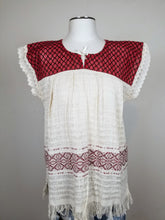 Load image into Gallery viewer, Amalia Red Ivory Handmade Sustainable Top