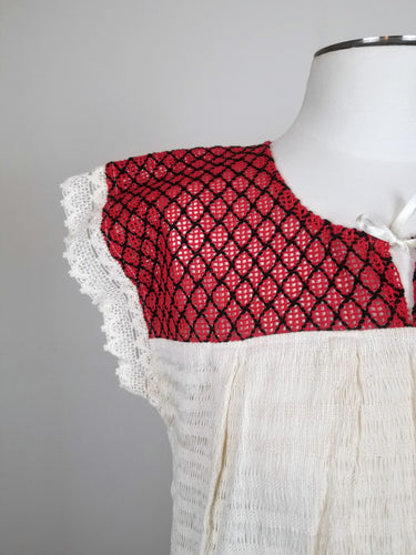 Amalia Red Ivory Handmade Sustainable Top