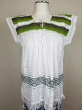 Load image into Gallery viewer, Amalia Green White Handmade Sustainable Top
