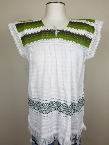 Amalia Green White Handmade Sustainable Top