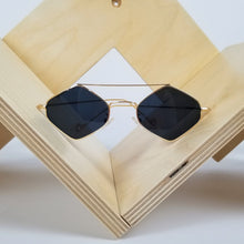 Load image into Gallery viewer, Gold Frame Black Hexagon Sunglasses
