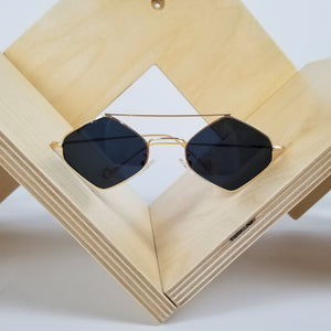 Gold Frame Black Hexagon Sunglasses
