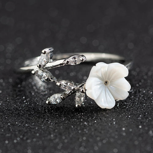 Silver Flower Branch Ring