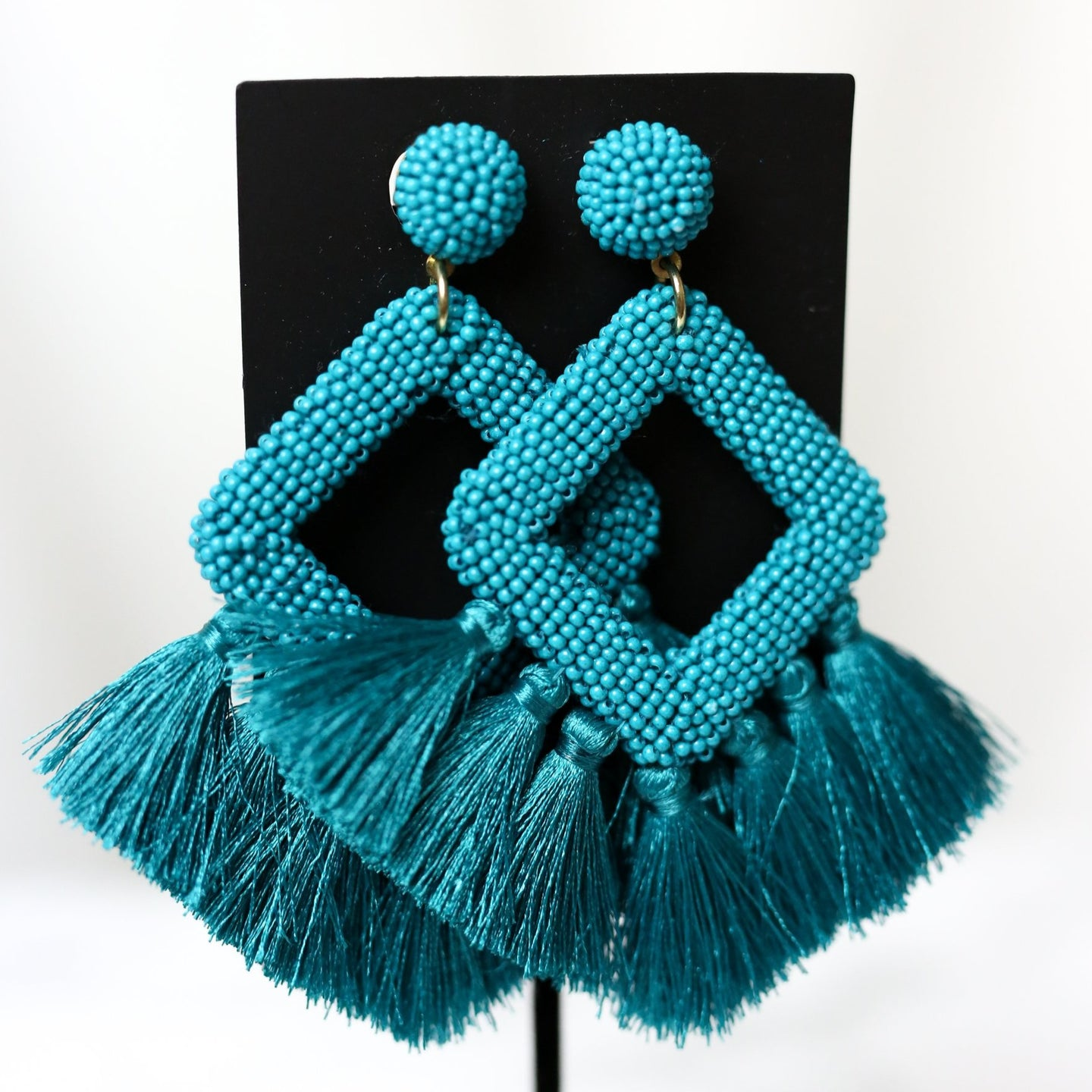 Ellie Fringe Blue Drop Earrings