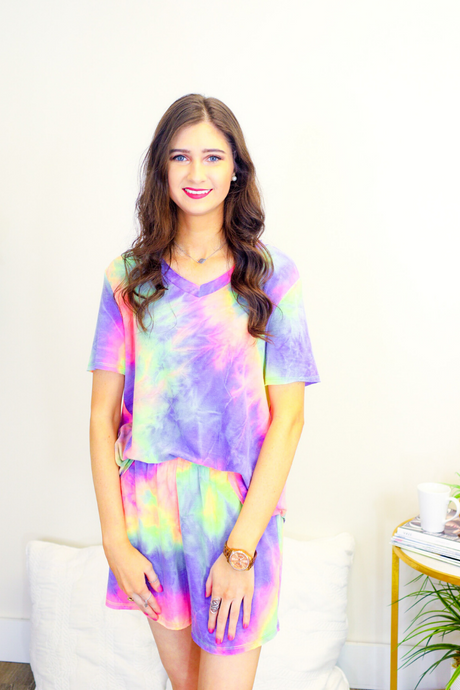 Casual Tie Dye Lounge Wear Short Set