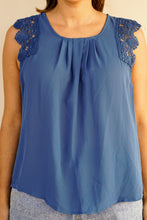 Load image into Gallery viewer, Lovely Blue Lace Top