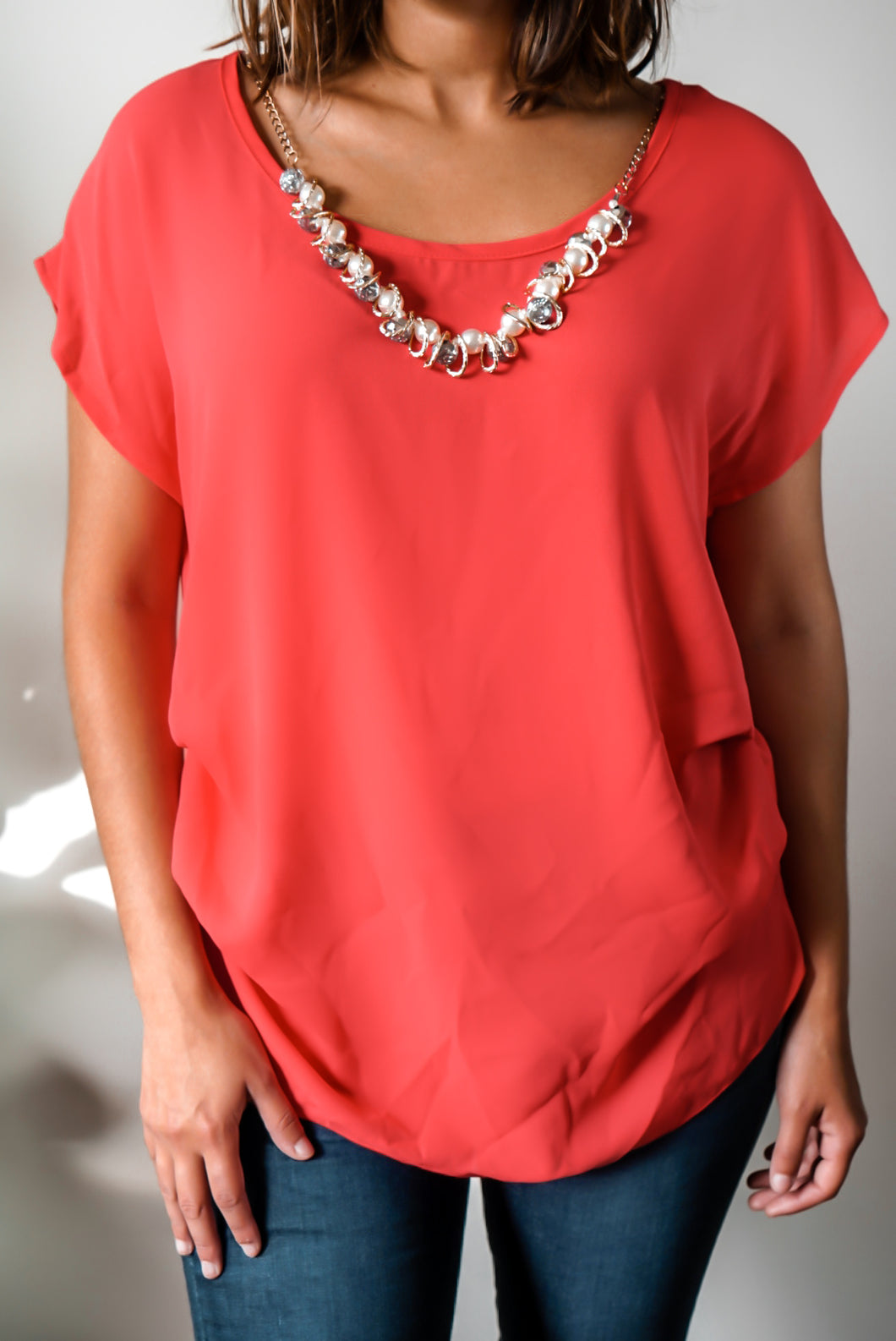 Red Hot Pearl Necklace Top