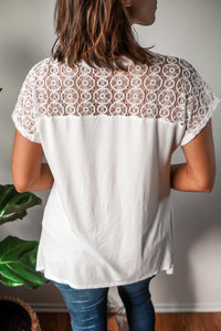 White Lace Top- So Soft!