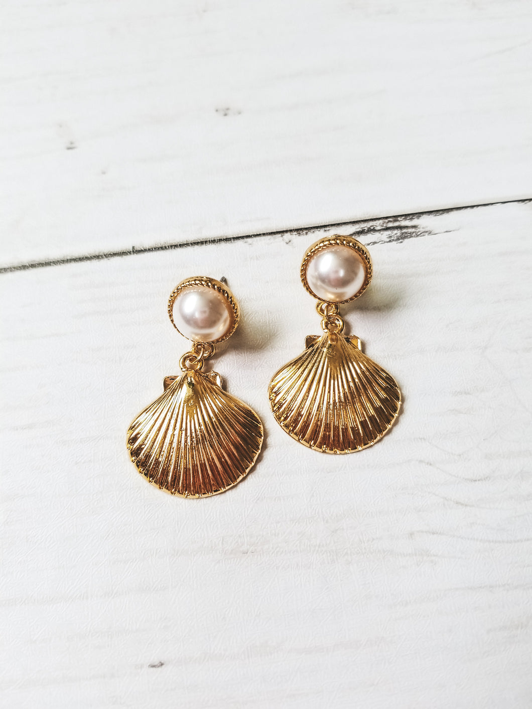 Mother of Pearl Gold Shell Earrings - West Canada Co