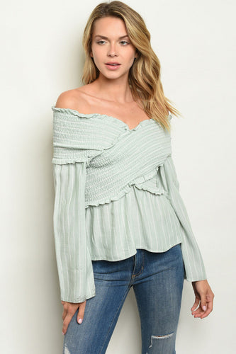 Sage Off Shoulder Stripe Top - West Canada Co