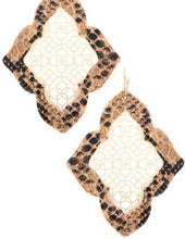Load image into Gallery viewer, Snake Print Moroccan Drop Earrings