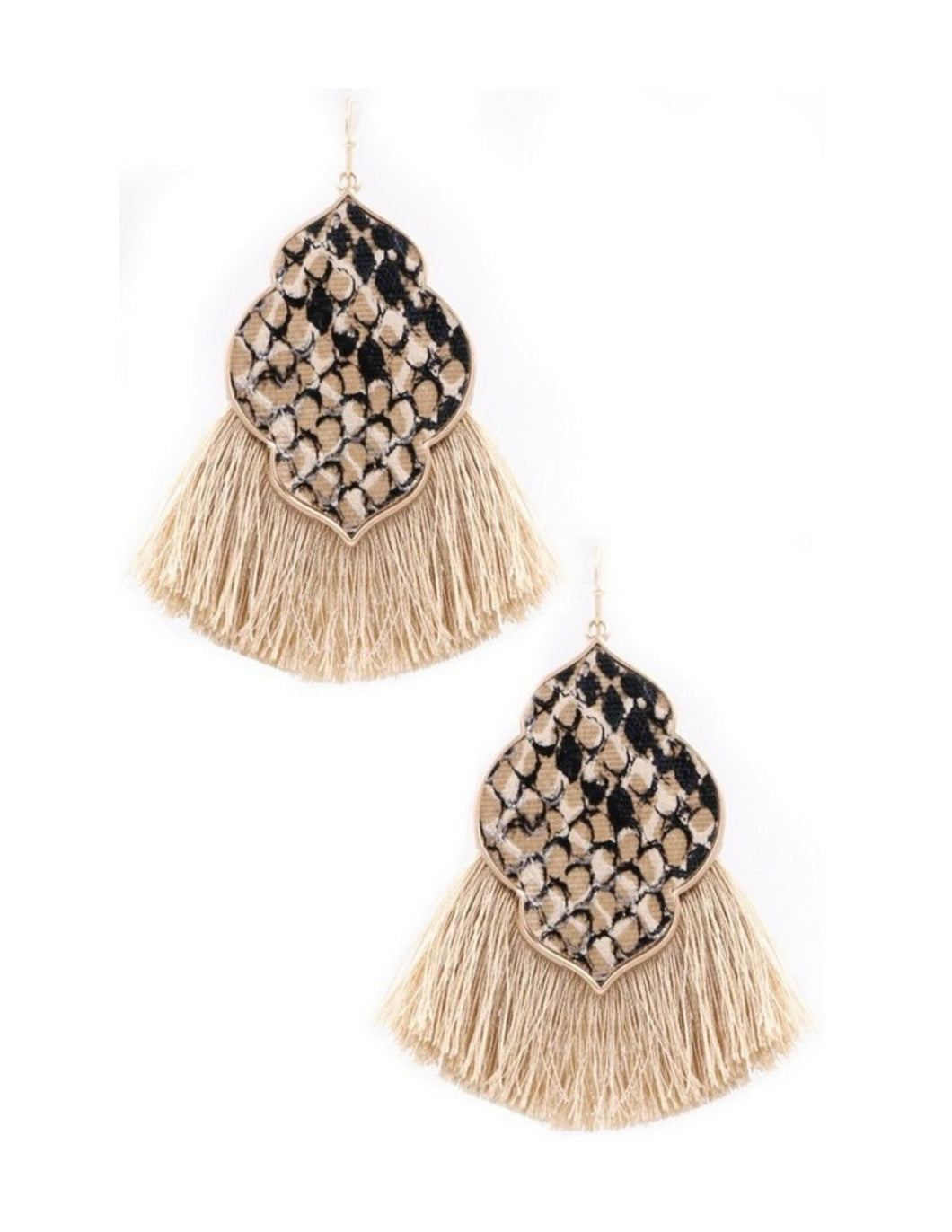 Snake Print Moroccan Tassel Earrings