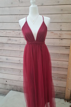 Load image into Gallery viewer, Strawberry Wine Burgundy Crisscross Back Maxi Dress