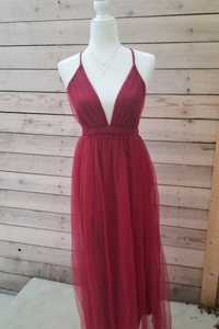 Strawberry Wine Burgundy Crisscross Back Maxi Dress