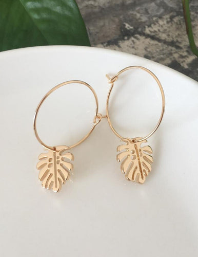 Tropical Gold Leaf Earrings