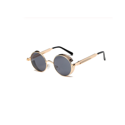 Retro Black And Gold Round Sunglasses