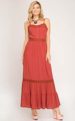 Rustic Earth Woven Maxi Dress