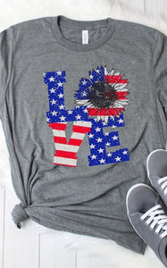 Sunflower USA Love Grey Graphic Tee