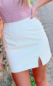 Kelly White Faux Leather Skirt