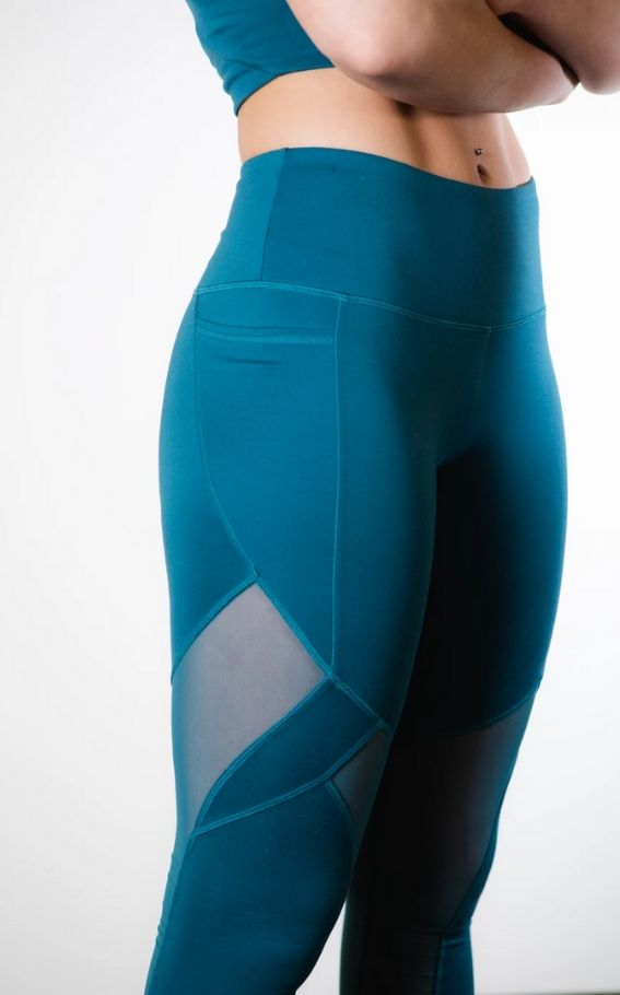 Sustainable Pacific Blue High-Rise Mesh Legging