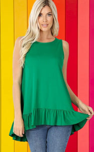 Michelle Green Ruffle Bottom Plus Size Tank