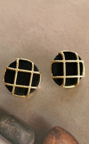 Classy and Timeless Black and Gold Button Earrings
