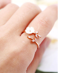 Rose Gold Flower Branch Ring