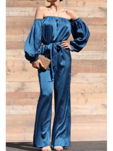 Load image into Gallery viewer, Blue Gemstone Satin Jumpsuit