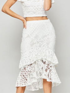 Marie Tiered White Lace Midi Skirt