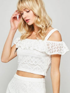 Marie Off Shoulder White Lace Top