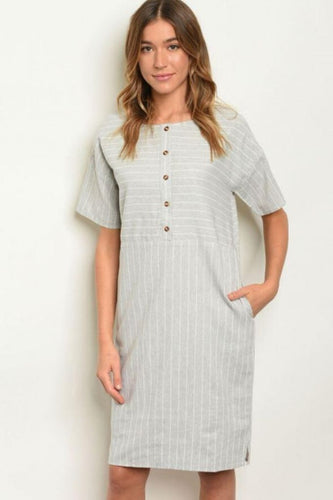 Coffee Date Grey Striped Midi Dress