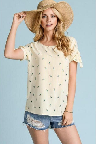 Pineapple Of My Eye Yellow Print Top