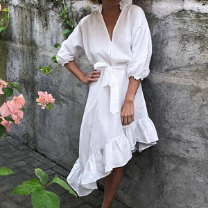 White Puffy Sleeve Cotton Dress