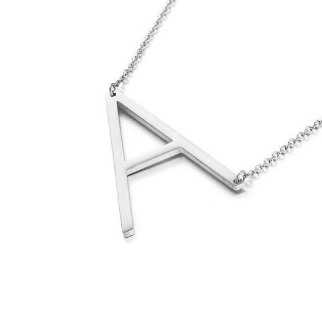 Oversized Initial Letter Pendant Necklace - West Canada Co