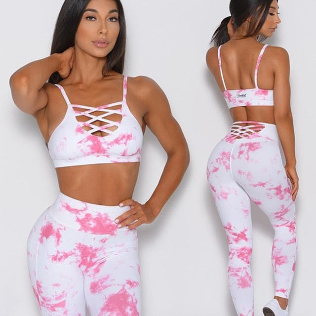 Tie Dye Hollow Yoga Set